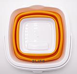 Ведро складное силиконовое дорожное квадратное Оранжевое (n-594), фото 4