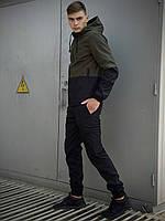 Чоловічий костюм сірий-чорний демісезонний Intruder Softshell Light Куртка чоловіча хакі, сині штани чорні, фото 1
