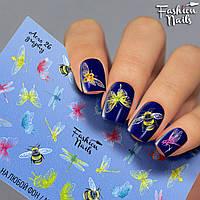 Слайдер-дизайн наклейки на ногти для маникюра водные Fashion Nails Aero 26 стрекозы и бабочки,пчелы