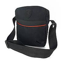 Чоловіча барсетка Puma Ferrari чорна (Пума Ферарі) сумка через плече, фото 1