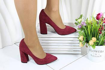 Красные  замшевые туфли на каблуке Vensi V356
