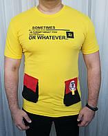 Мужская футболка жёлтый цвет с модными карманами
