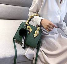 Модная каркасная сумка  с ленточкой и помпоном, фото 3