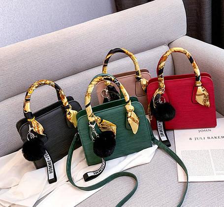 Модная каркасная сумка  с ленточкой и помпоном, фото 2
