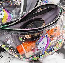 Сказочная прозрачная поясная сумка бананка с принтом Единорога и звездами, фото 3