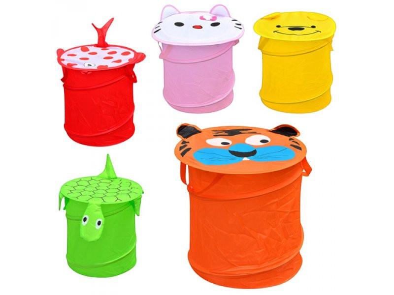 Корзина для игрушек собачка оранжевая  диам. 32 см,высота 43 см,крыш-липуч,2 ручки,35-35-2 см