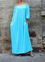 Платье летнее макси оверсайз с длинным рукавом, фото 1