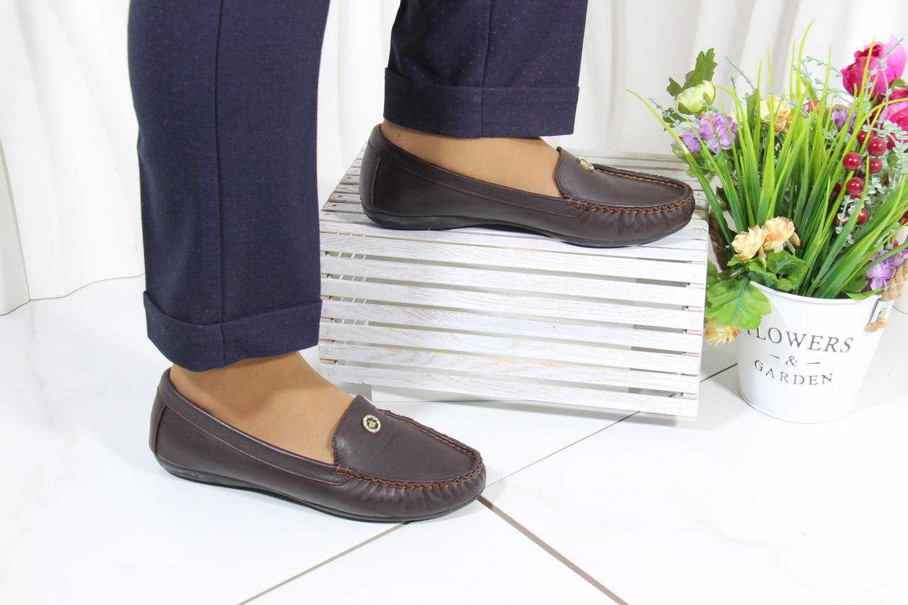 Кожаные женские туфли мокасины  Norka 10-38-65