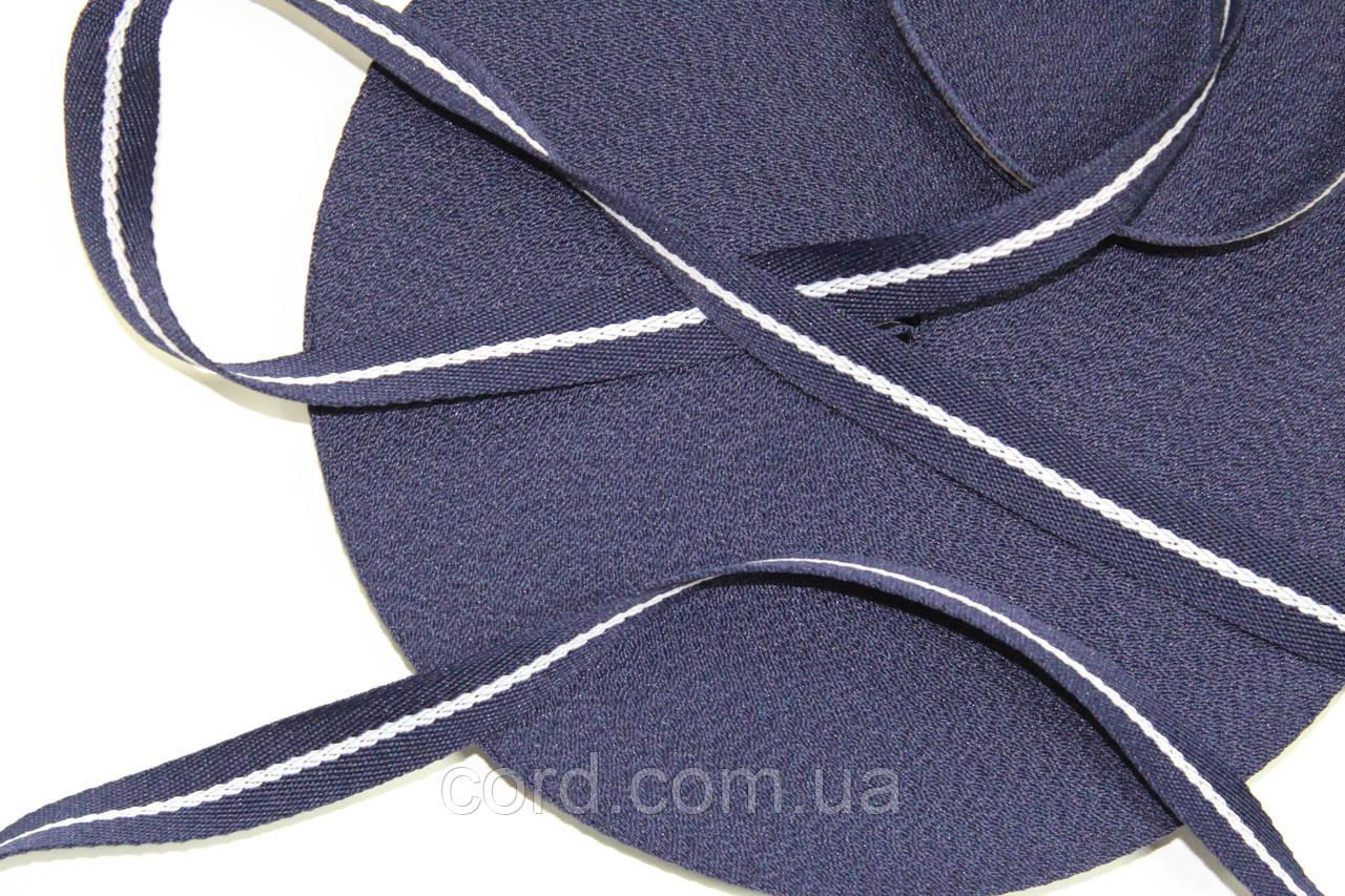 Тесьма киперная 20мм 50м синий + белый