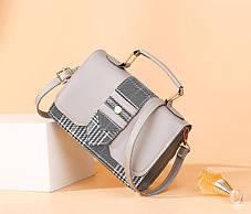Стильная женская сумка сундук с вставками, фото 2