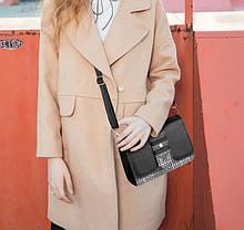 Стильная женская сумка сундук с вставками, фото 3