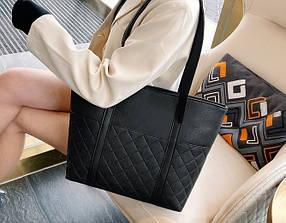 Большая элегантная черная сумка шоппер
