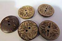 Пуговицы деревянные с орнаментом d-2,2 см, 5 шт, (10)
