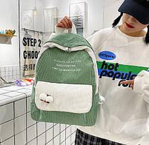 Большой вельветовый рюкзак с брелком, фото 3
