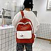 Большой вельветовый рюкзак с брелком, фото 6