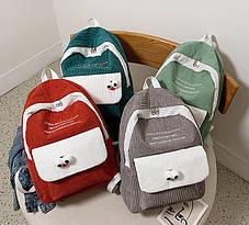 Большой вельветовый рюкзак с брелком, фото 2
