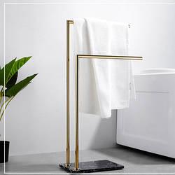 Напольная вешалка для полотенец серебро и золото в ванную комнату. Модель 3-104