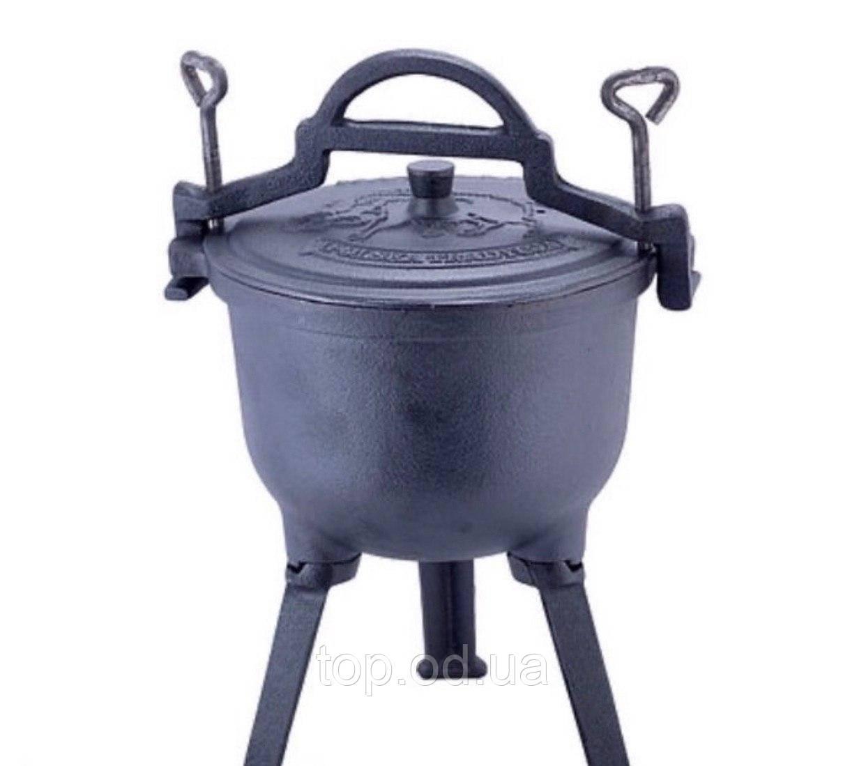 Казан,котелок чугунный 15 литров на ножках с крышкой Kamille