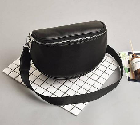 Стильна чорна сумка на ремінці оригиального дизайну, фото 2