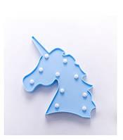 Ночник детский единорог голубой