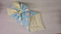 Конверт одеяло для новорожденных летний единорожки на голубом  (ДРОПШИППИНГ)