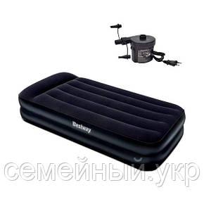 Надувной матрас-кровать  Bestway с электронасосм. Размер: 203х102х46 см. Нагрузка: 136 кг.  Черный. 67381, фото 2