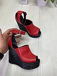 Женские летние туфли на шикарной танкетке черные, красные, бордовые, розовые, фото 3
