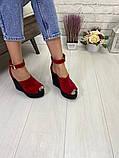 Женские летние туфли на шикарной танкетке черные, красные, бордовые, розовые, фото 2