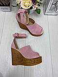 Женские летние туфли на шикарной танкетке черные, красные, бордовые, розовые, фото 7
