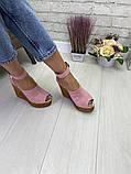 Женские летние туфли на шикарной танкетке черные, красные, бордовые, розовые, фото 8