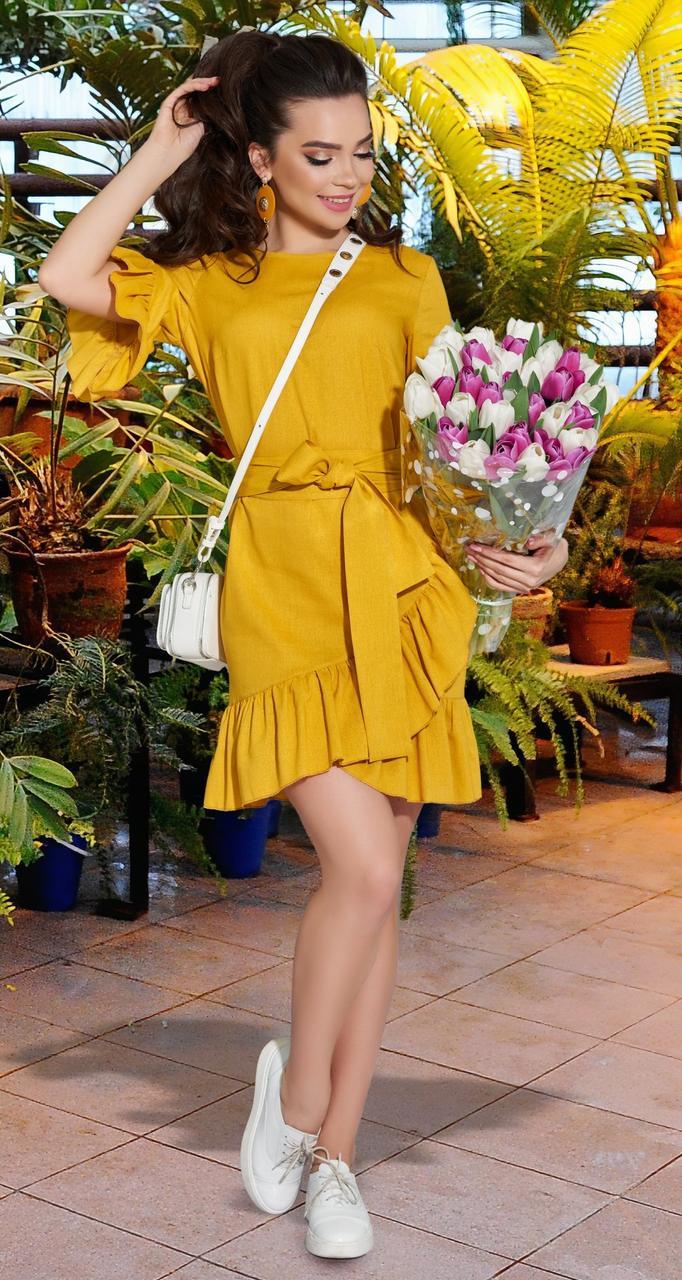 Жовте жіноче плаття з льону 42,44,46 р.