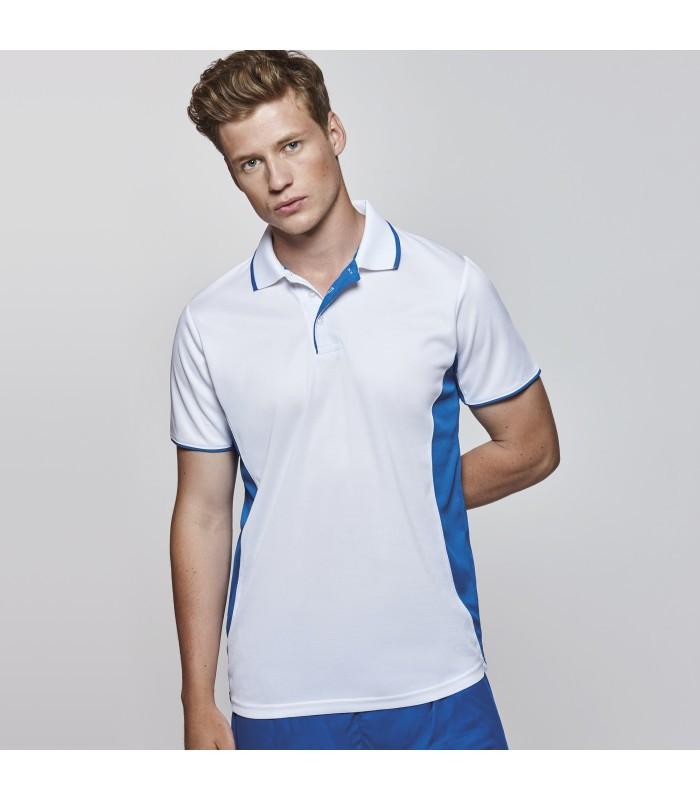 Мужская спортивная футболка поло бело-синяя 0421-30