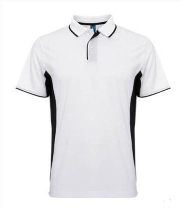 Мужская спортивная футболка поло бело-черная 0421-31