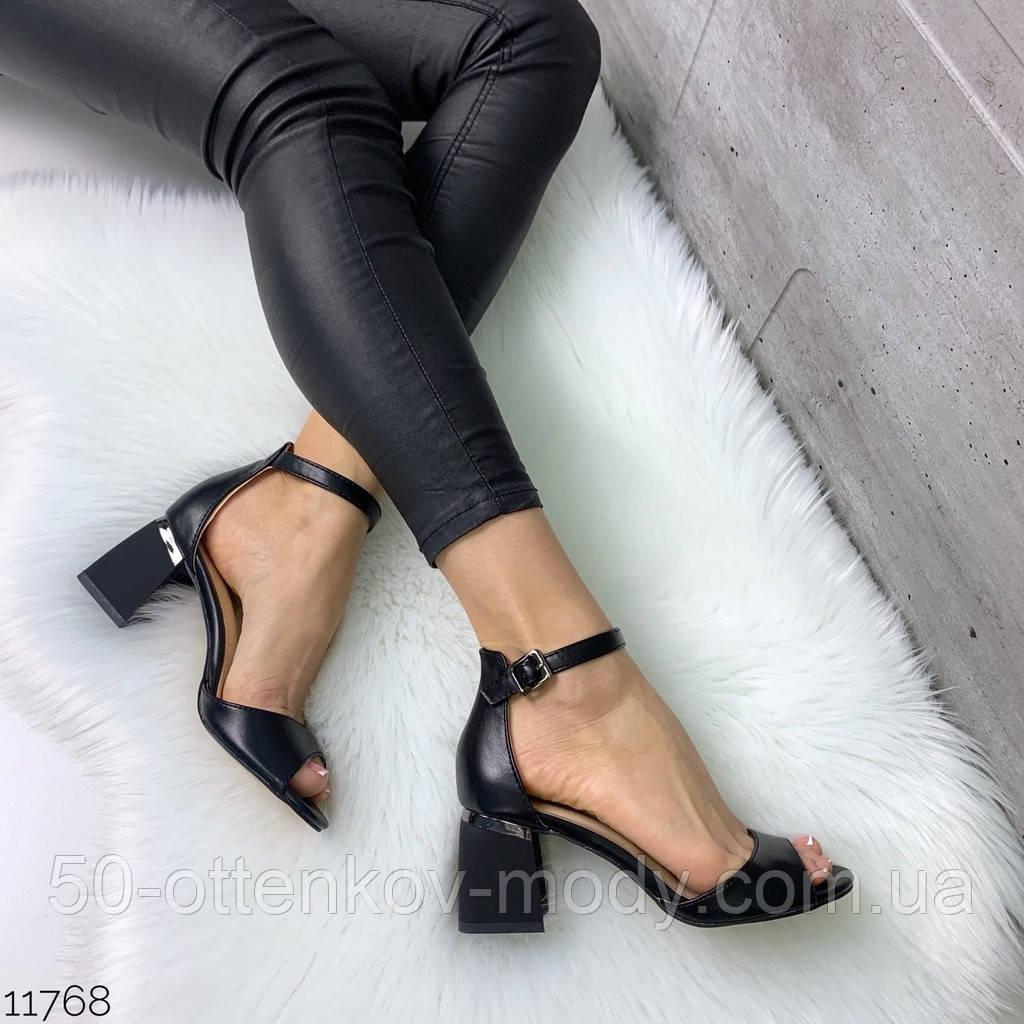 Женские шикарные босоножки с ремешком на удобном устойчивом каблуке, эко кожа черные