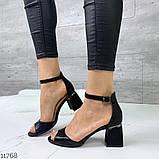 Женские шикарные босоножки с ремешком на удобном устойчивом каблуке, эко кожа черные, фото 3