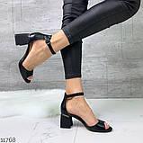 Женские шикарные босоножки с ремешком на удобном устойчивом каблуке, эко кожа черные, фото 2