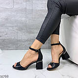 Женские шикарные босоножки с ремешком на удобном устойчивом каблуке, эко кожа черные, фото 4