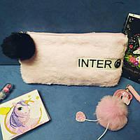 """Пенал сумочка 1 відділення хутряний №P0785 """"Inter"""" 23*12 mix"""