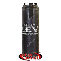 Мішок боксерський Циліндр Кирза h-65см Lev LV-2825 чорний, фото 1
