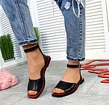 Женские кожаные босоножки сандалии на низком ходу (разные цвета), фото 3