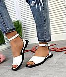 Женские кожаные босоножки сандалии на низком ходу (разные цвета), фото 6