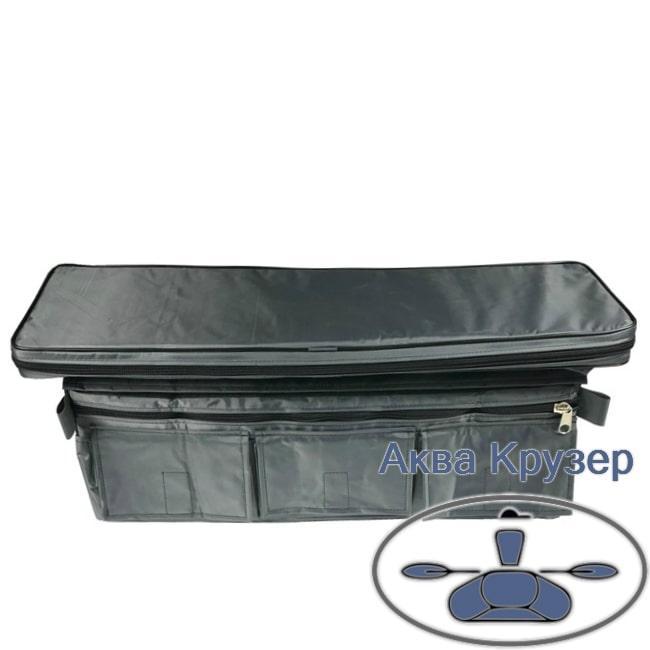 Мягкое сиденье накладка 710х200х50 мм с сумкой рундуком для надувной лодки ПВХ, цвет серый