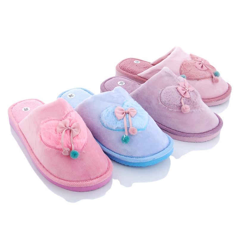 Тапочки домашні кімнатні жіночі Серце. Тапки демісезонні для дому (темно-рожеві) 38-39