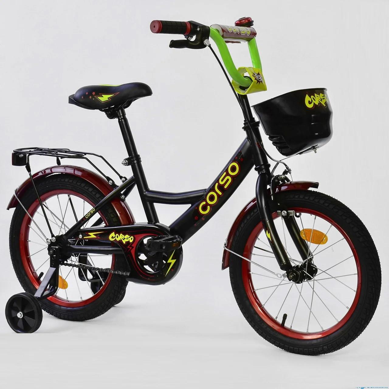 """Детский двухколесный велосипед 16"""" с ручным тормозом и родительской ручкой на сидении Corso G-16496 черный"""