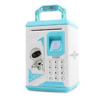 Копилка музыкальная детский сейф с кодовым замком и по отпечатку пальца UKC Robot Голубой