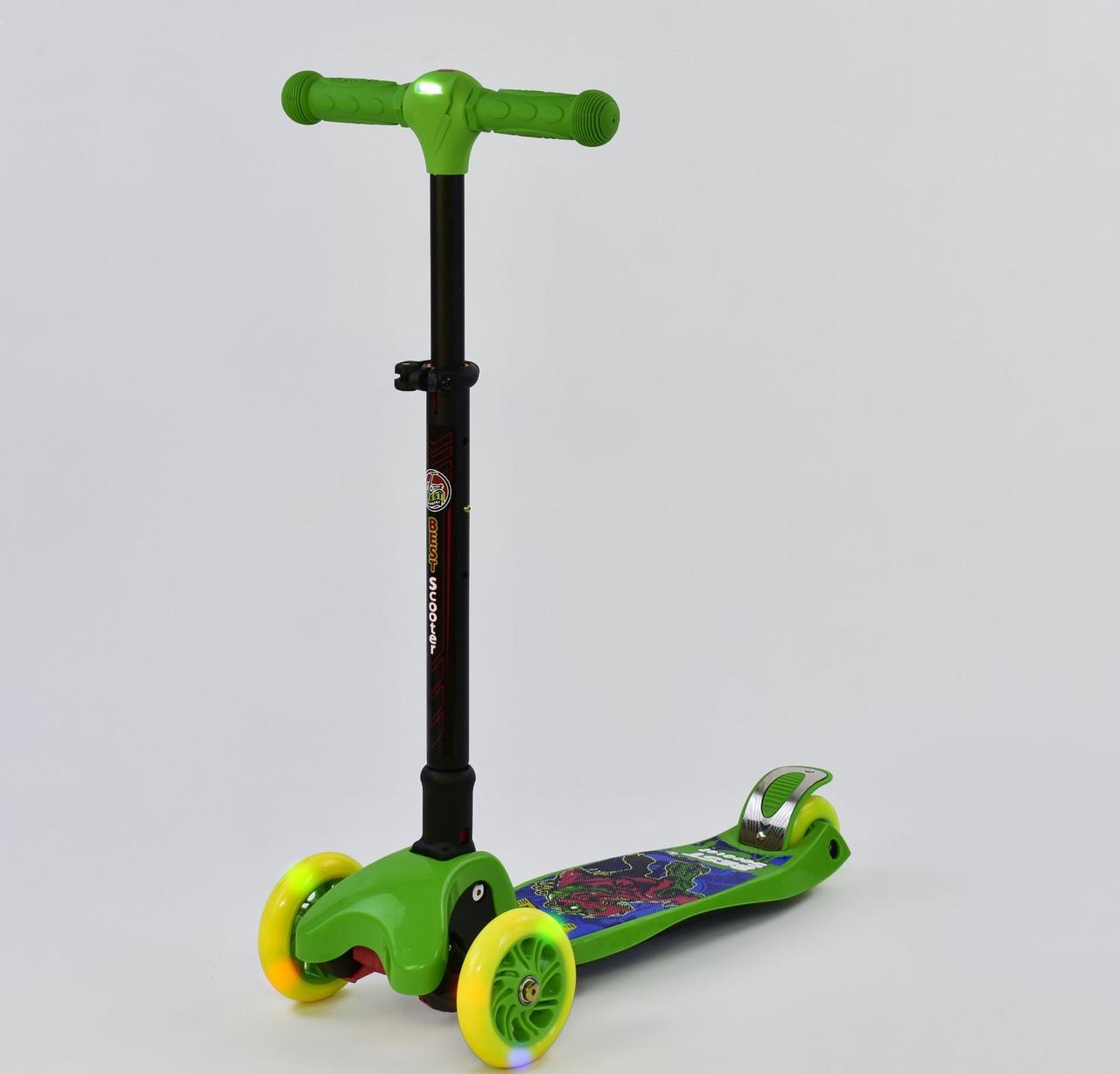 Самокат Best Scooter С 37200, складной руль с фарой, 4 колеса PU со светом, d=12 см