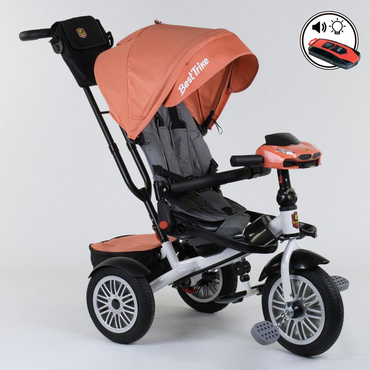 Велосипед 3-х колёсный Best Trike с поворотным сиденьем 9288 В - 4716, складной руль, русское озвучивание, надувные колеса, пульт включения света и