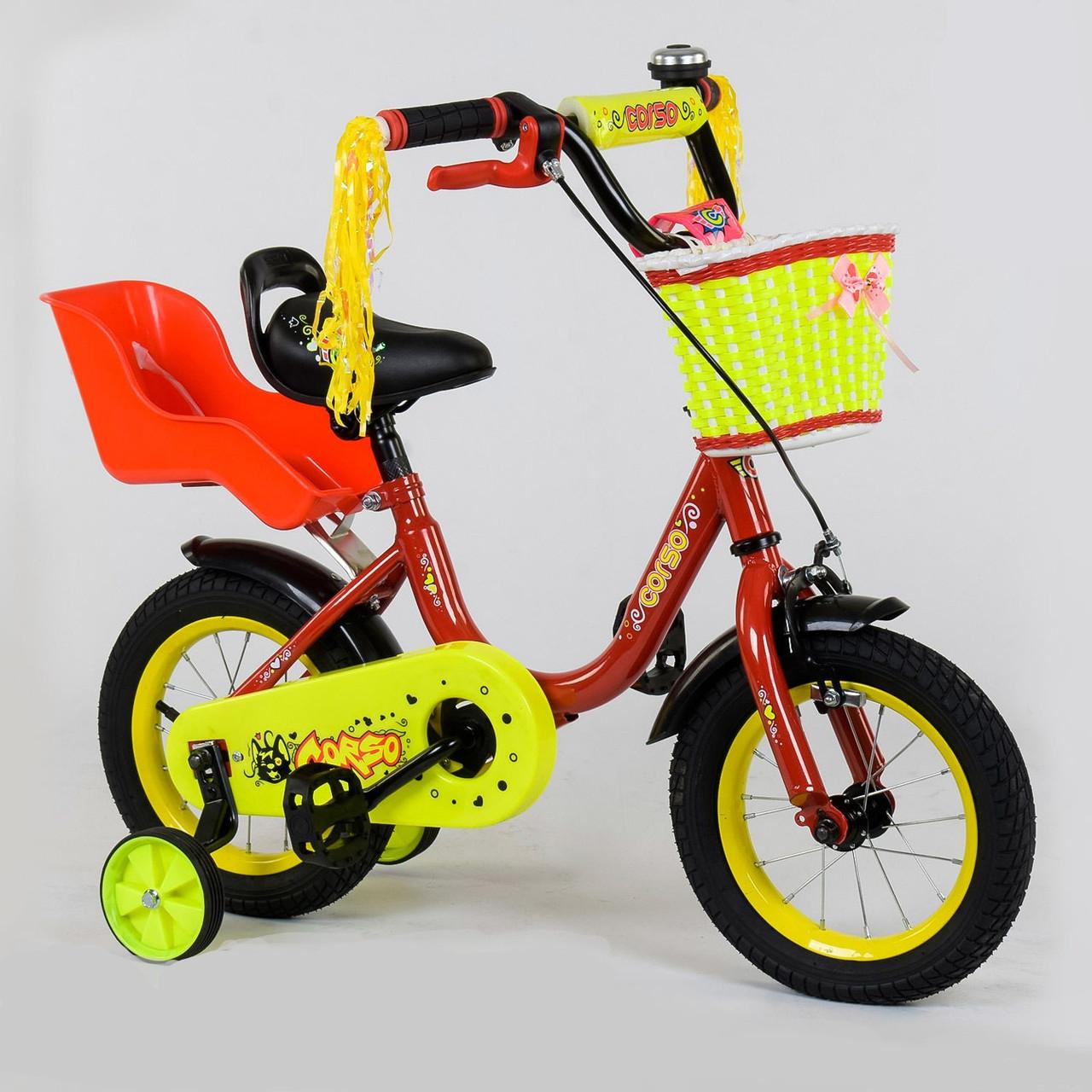 """Детский двухколёсный велосипед 12"""" с ручным тормозом и съемными страховочными колесами Corso 1294 красный"""
