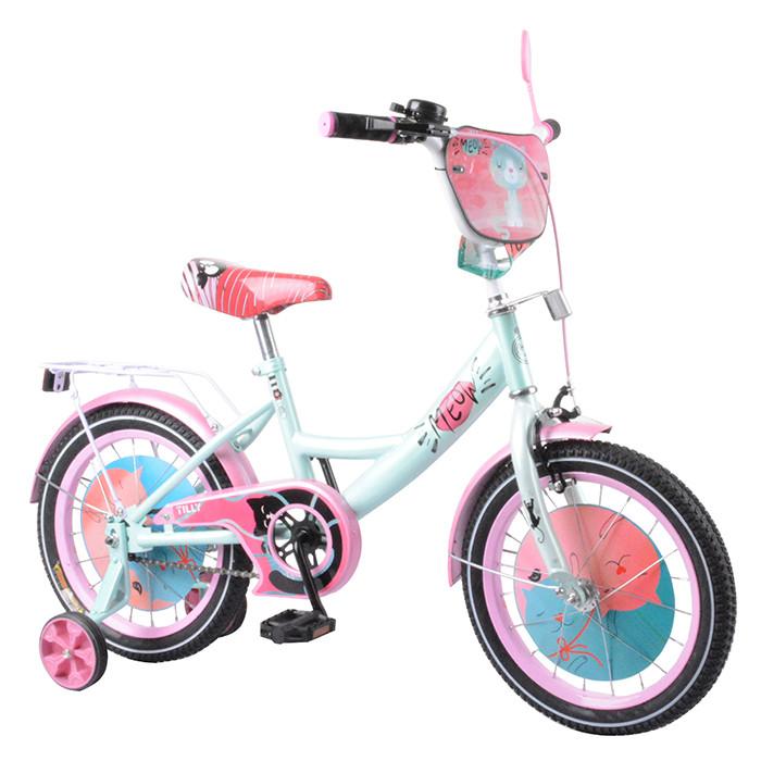 """Детский двухколёсный велосипед 16"""" с металлической рамой и съёмными страховочными колёсами TILLY Meow T-216218"""