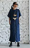 Летнее джинсовое платье макси свободный силуэт, фото 1